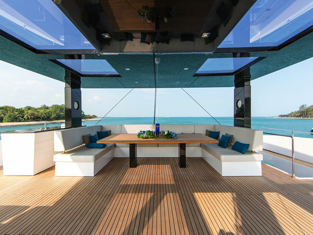 singapore birthday party space with sea view and u-shaped couches