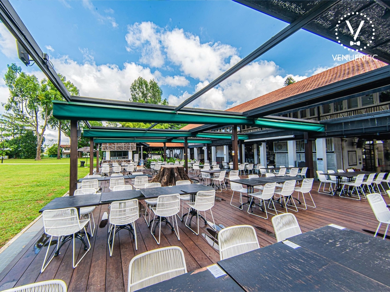 outdoor garden restaurant area at the sunny day