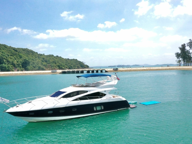 black-white interior yacht in singapore for hopping island
