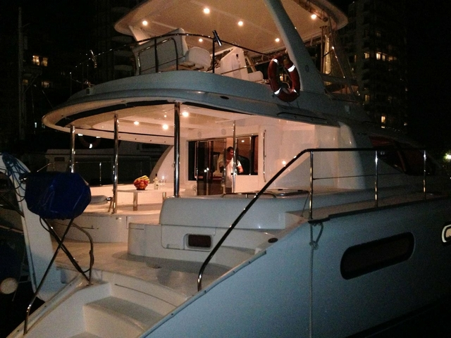large singapore networking event yacht with dim light