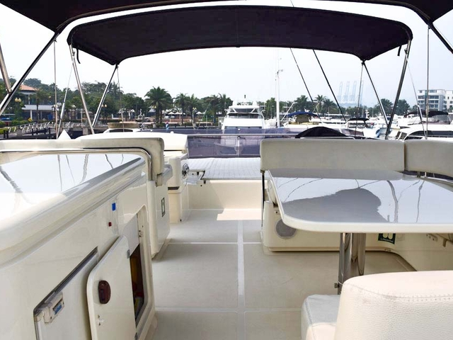 singapore party yacht with white upper deck interior