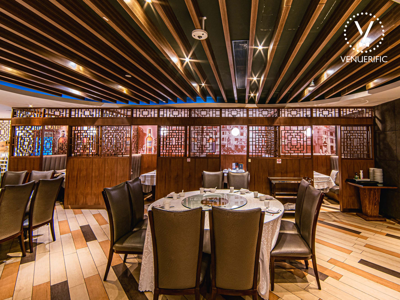 chinese restaurant dominated with wooden interior