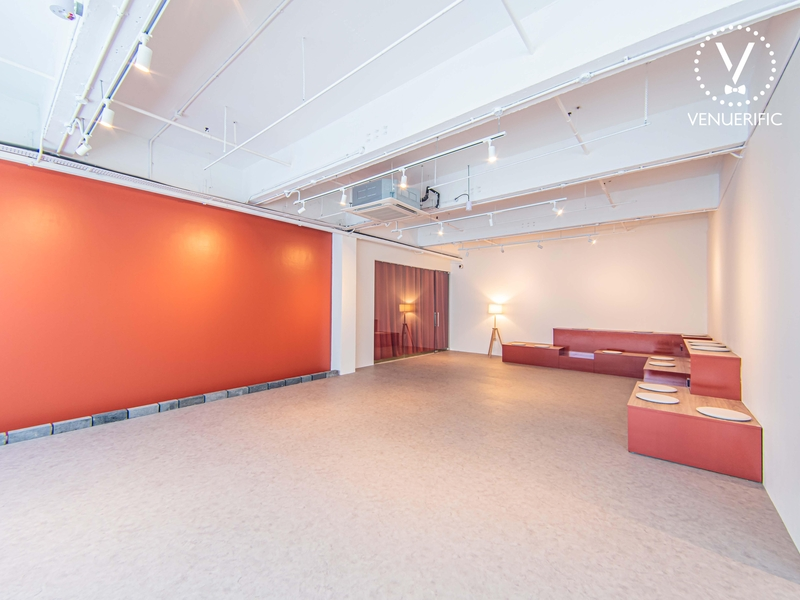 red and white event space with auditorium seats