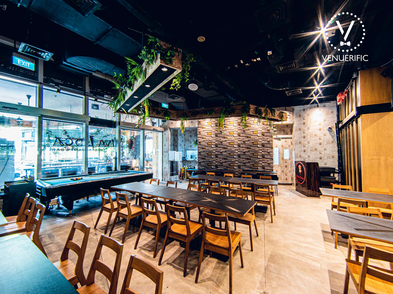 large restaurant in changi singapore with long dining table and glass wall