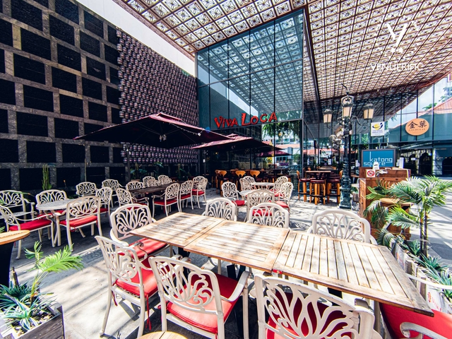 mom's birthday venue in singapore with wooden and glass interior