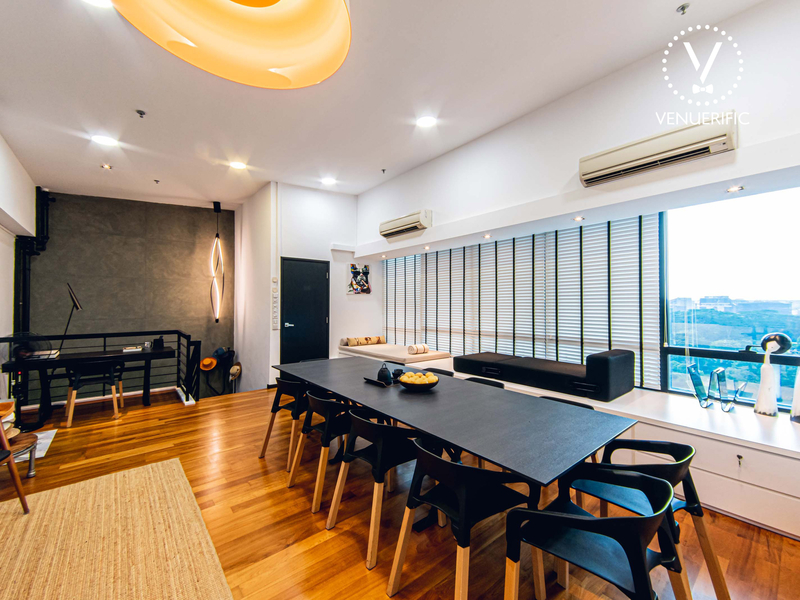 meeting setup at the private room with wooden floor