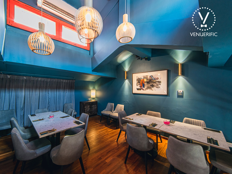 restaurant with blue lush teal walls