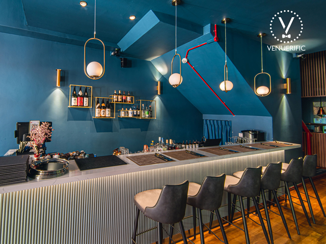 modern bar with hanging lights on the ceiling