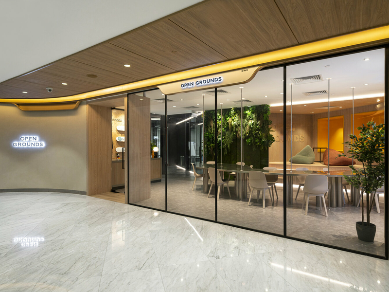 the exterior look of open grounds with glass window