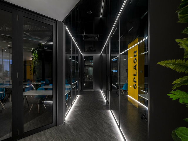 the aisle of open ground's meeting room area