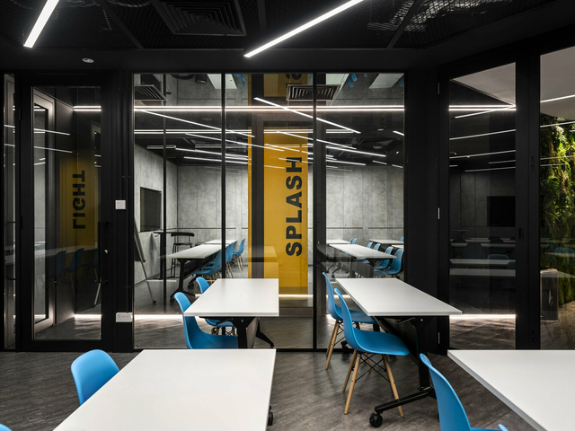 private meeting room with ceiling to floor window
