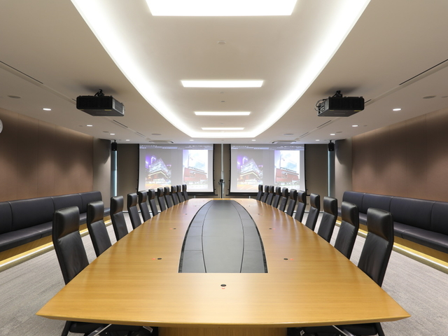 board meeting room setup with two giant screen for presentation