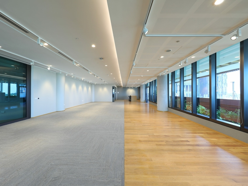 large event space with two different floor