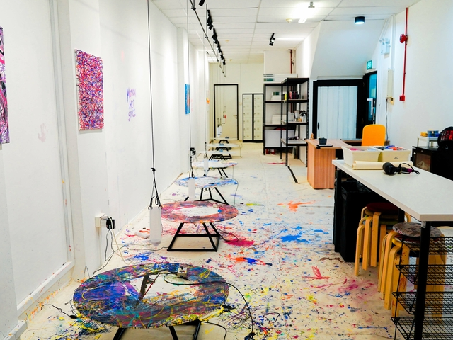 art jamming event space with newton's law of motion