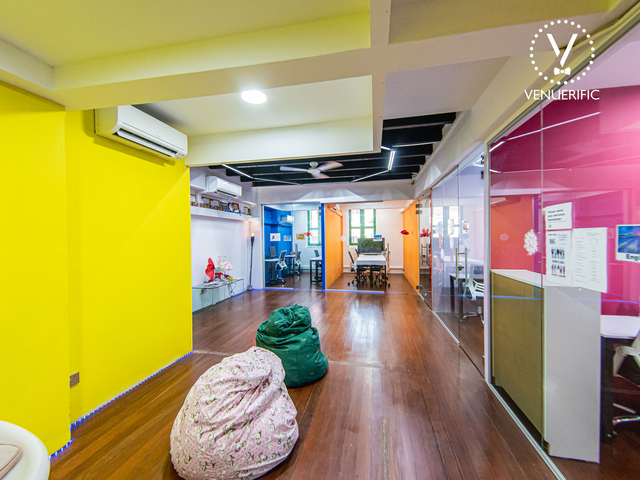 event space with colourful interior and bean bag