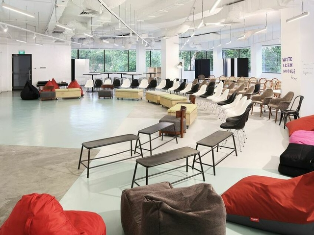 contemporary meeting space is knitted out with an eclectic and configurable mix of furniture