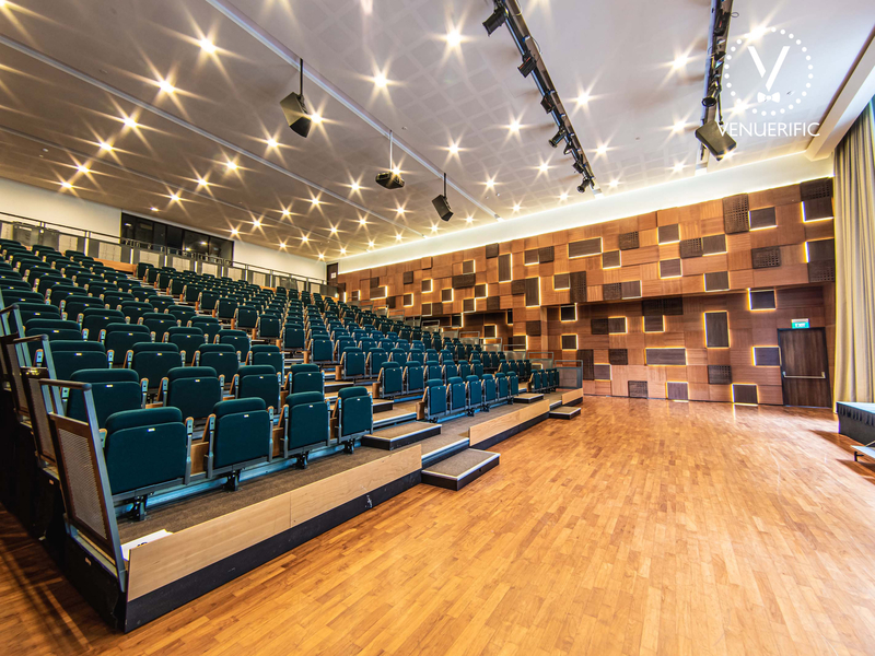 auditorium with 400 seats featuring two-storey high full-length glass windows