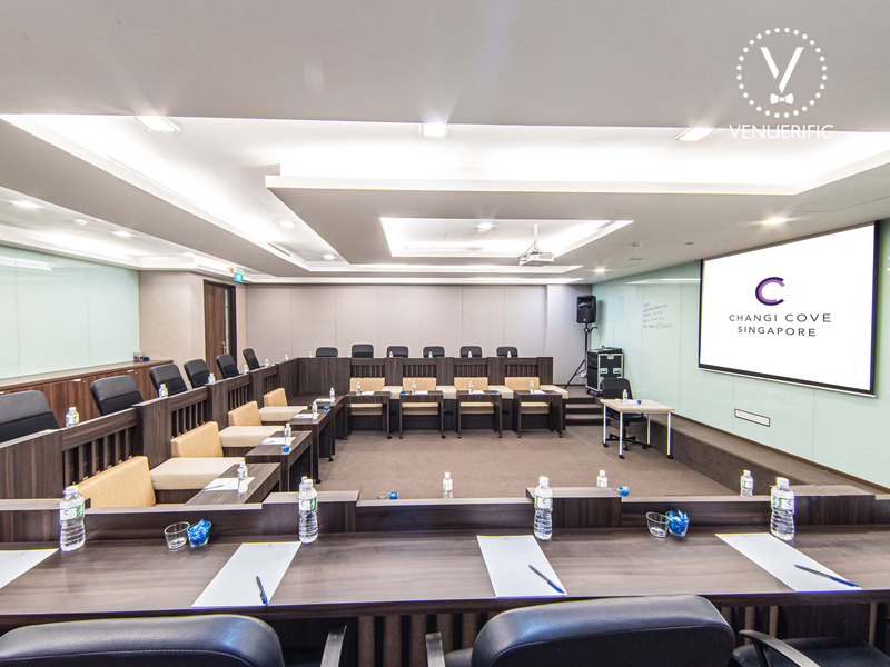 board meeting room setup equipped with audio-visual setup