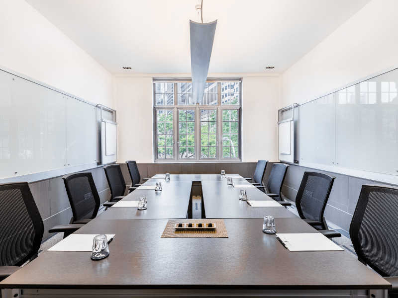 board meeting room rental with the view of greenery from the window