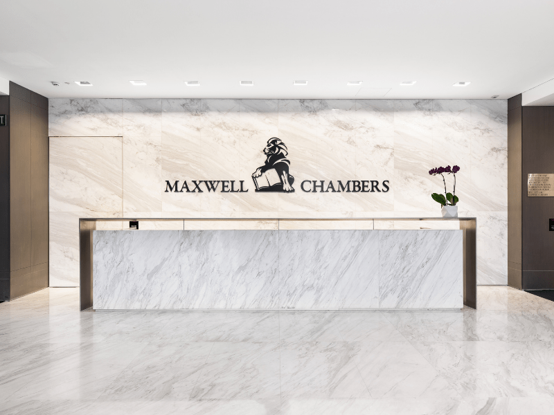 modern reception of maxwell chambers with marble interior