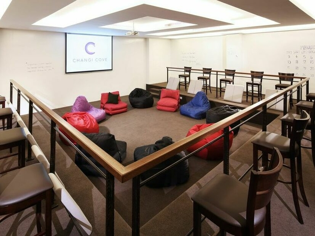 company discussion setup using beanbags