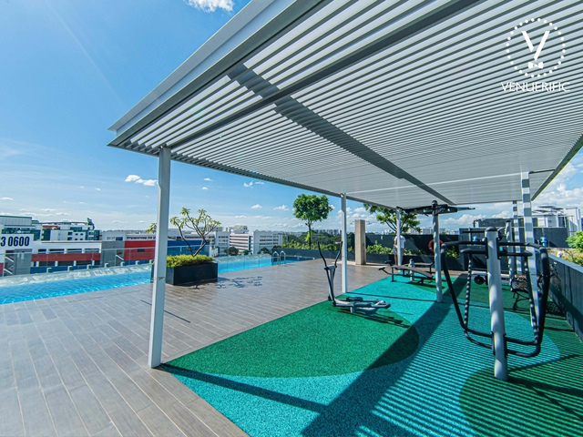 tranquil and private outdoor space area equipped with fitness equipment