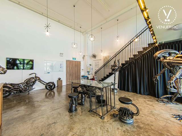 event space with crafted metal art sculptures