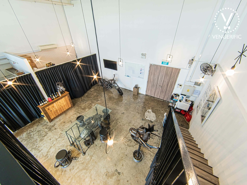 indoor private metal event space with high ceiling