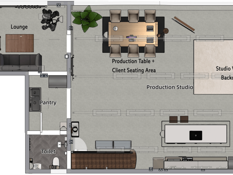 studio floorplan featuring the whole space