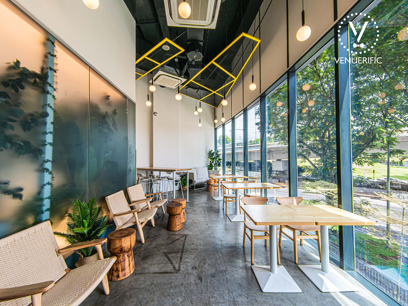 cafe with natural light from the glass window