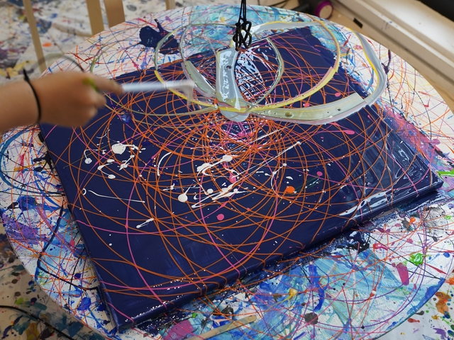 abstract art with pendulum and spin painting