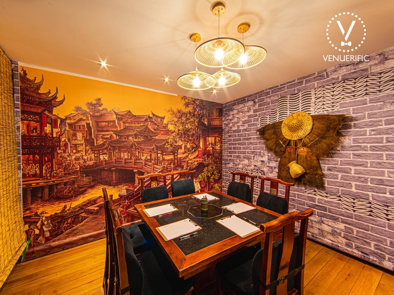 private dining room with chinese and brick wallpaper