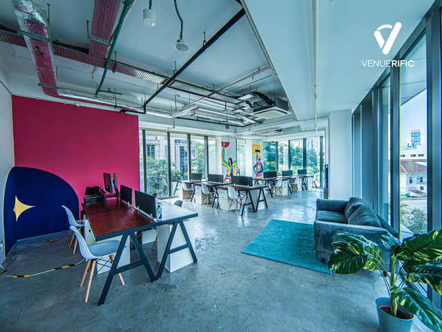 co-working space area with floor to ceiling window
