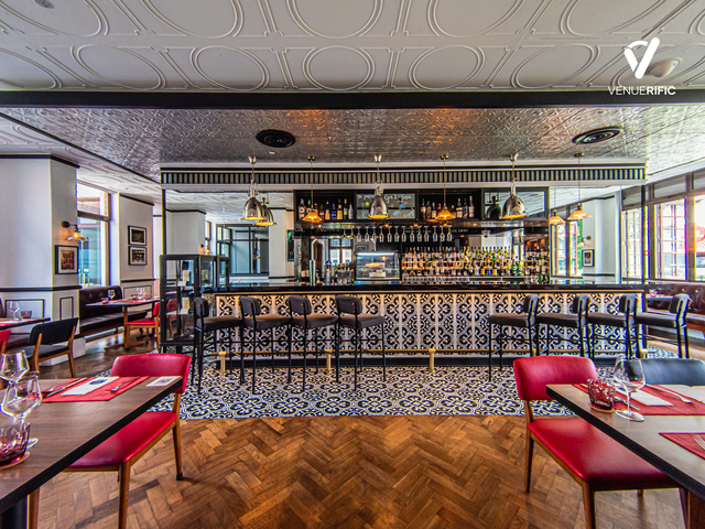 restaurant with elegant bar table