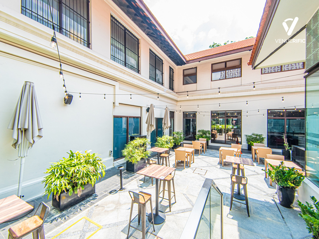 outdoor restaurant area with high wooden tables and chairs