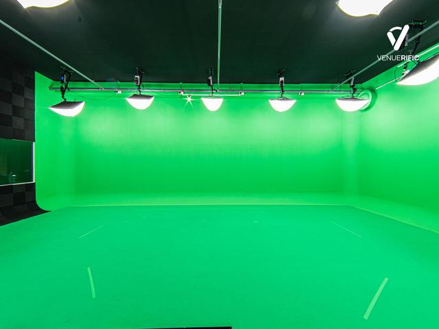 spacious green screen studios with lighting