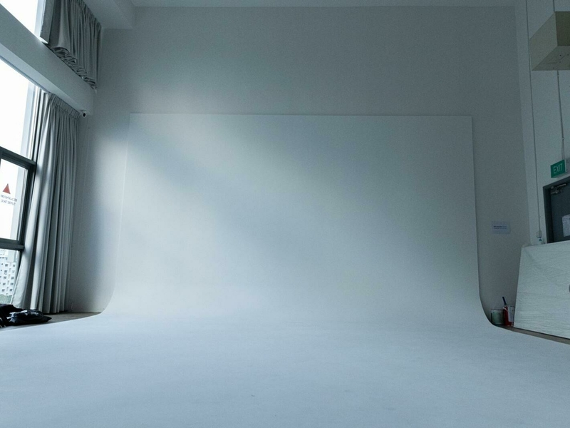 large white backdrop in a room