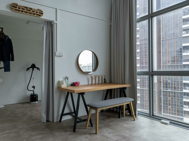 vanity in a room with city view