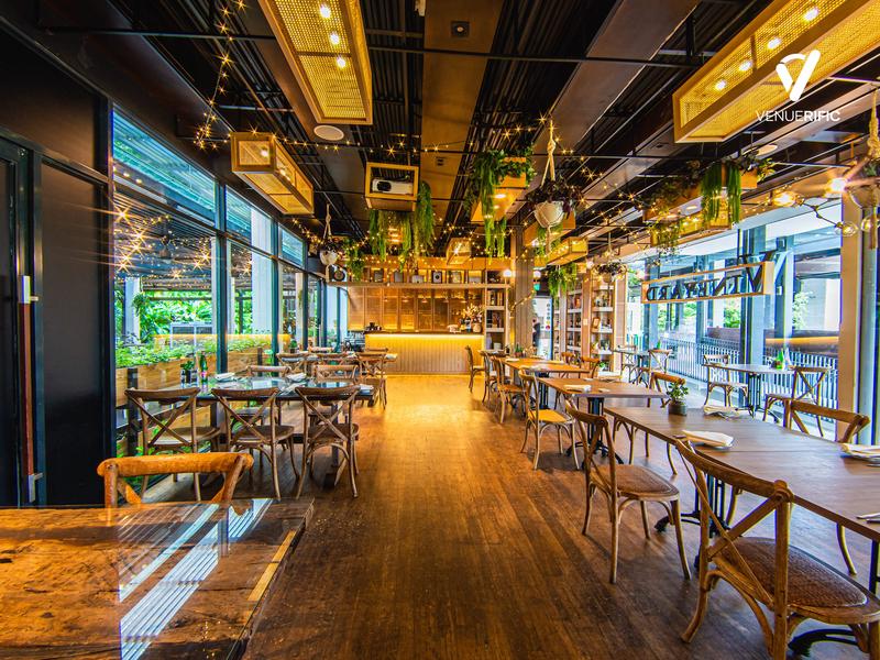 rustic indoor restaurant with floor to ceiling window