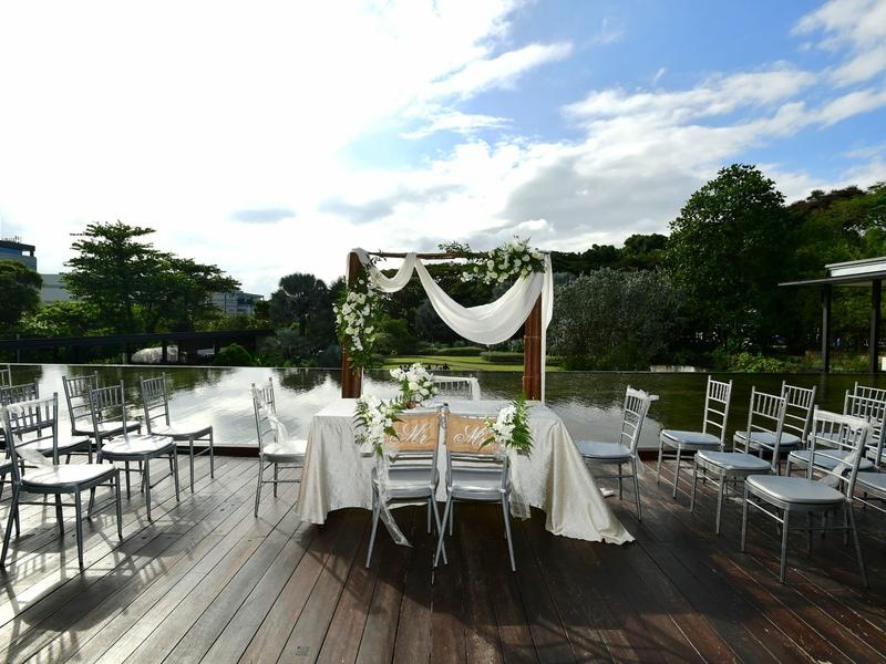 solemnisation setup with a garden view