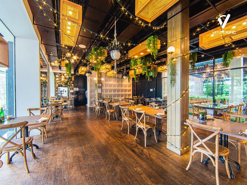 rustic indoor restaurant with hanging lights