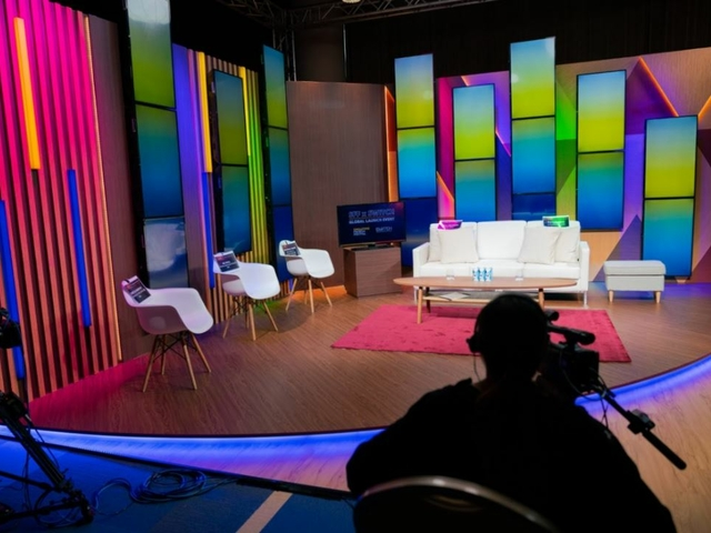 a studio for television show production with colorful set
