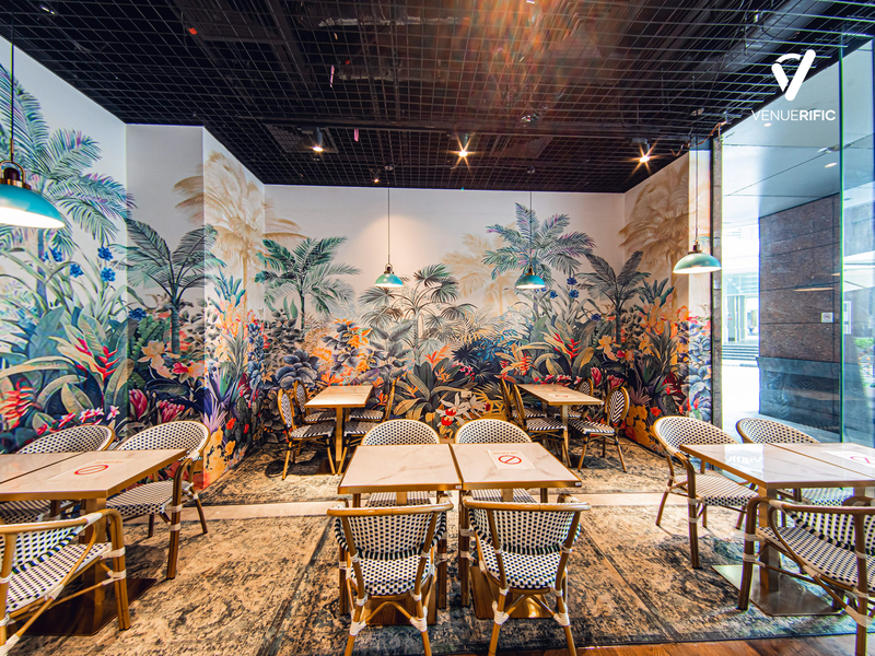 restaurant with beautiful floral wall