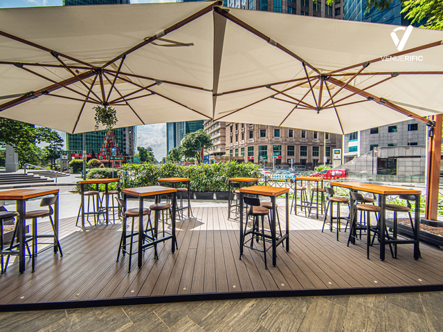 a restaurant with outdoor seating area