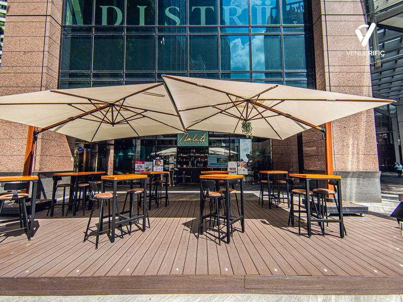 comfortable outdoor seating area in front of the restaurant