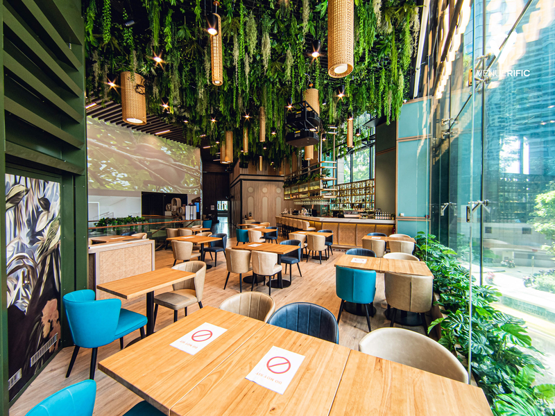 restaurant with beautiful interior and decorations