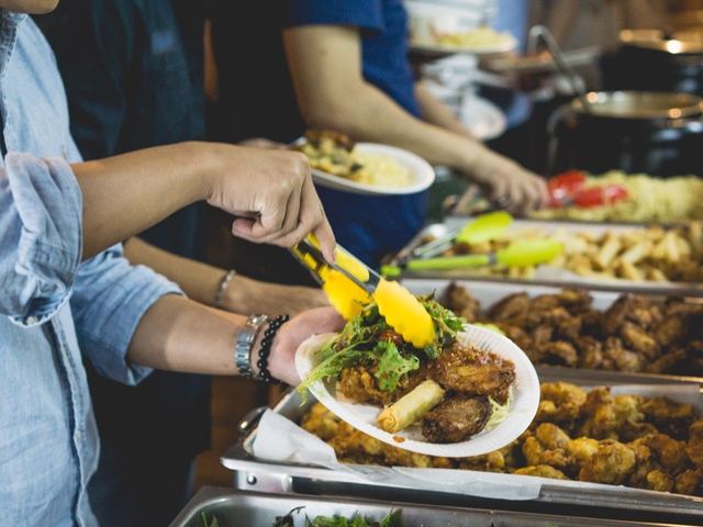 a buffet with delicious food at a party