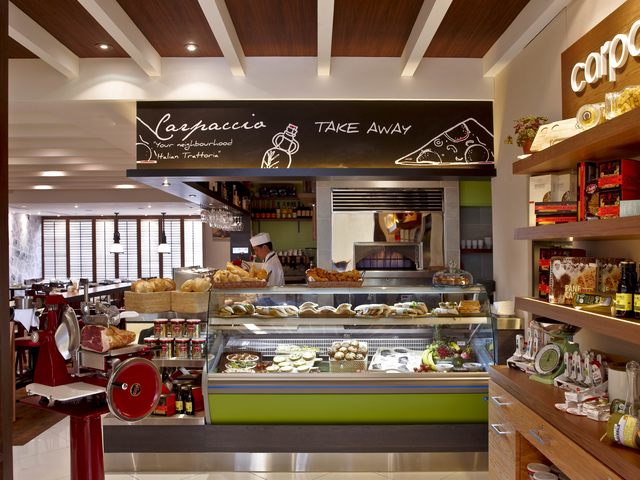 take away area with sweets and dessert display