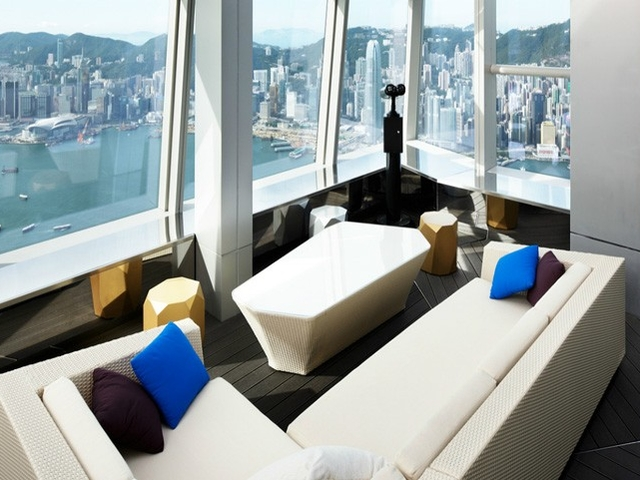long sofa overlooking hongkong sea view