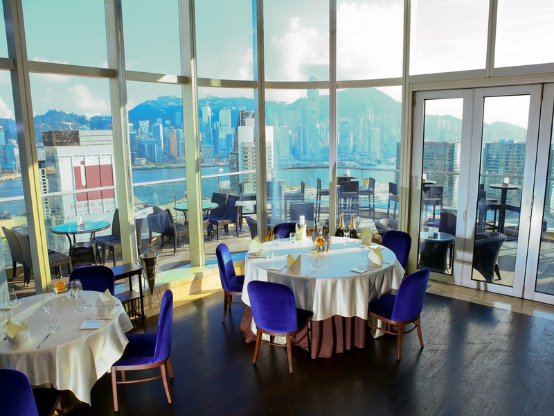 continental western restaurant with a spacious alfresco outdoor area and panoramic view of hong kong